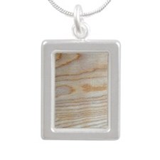 Chic Wood Grain Unique D Silver Portrait Necklace