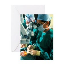 Surgeon removes cataracts using ultr Greeting Card