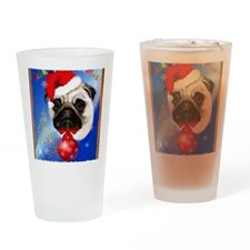 A Merry Christmas Pug Poster Drinking Glass