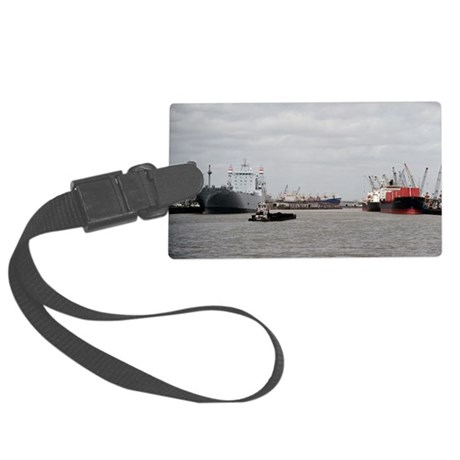 Small Tug with barge at Port of Large Luggage Tag