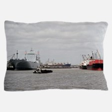 Small Tug with barge at Port of Housto Pillow Case