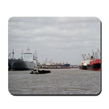 Small Tug with barge at Port of Houston Mousepad