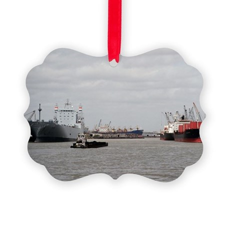 Small Tug with barge at Port of H Picture Ornament
