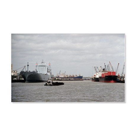 Small Tug with barge at Port of H 20x12 Wall Decal