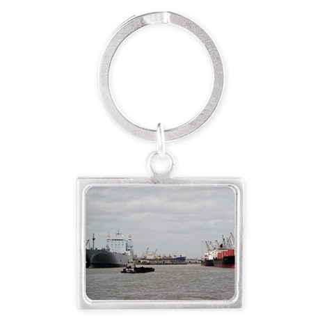 Small Tug with barge at Port of Landscape Keychain