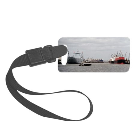 Small Tug with barge at Port of Small Luggage Tag