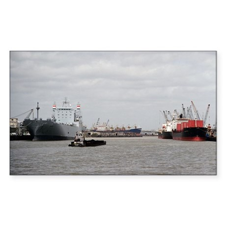 Small Tug with barge at Port o Sticker (Rectangle)