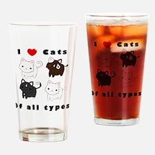 I Heart Cats Drinking Glass