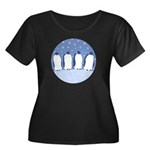 Penguin Quartet Plus Size Scoop Neck Dark T-Shirt