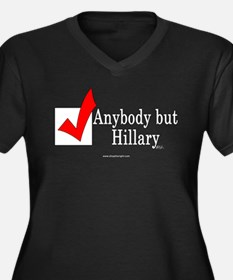 Anybody but Hillary Plus Size V Neck Dark Tshirt