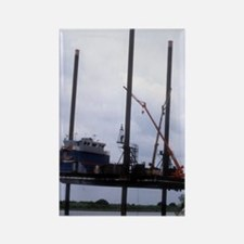 Jack-up barge taking on supplies Rectangle Magnet