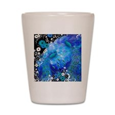 Two Peacocks In Blue Shot Glass