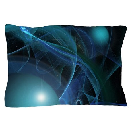 Fractal Flame: Blue Planets Pillow Case