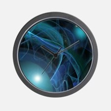 Fractal Flame: Blue Planets Wall Clock