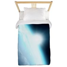 Sunrise from space, computer artwork Twin Duvet