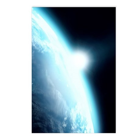 Sunrise from space, compu Postcards (Package of 8)