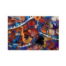 Music Madness Guitar Piano Saxoph Rectangle Magnet