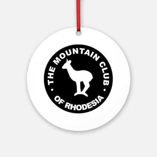 Rhodesian Mountain Club white on bl Round Ornament