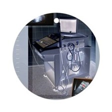 Ultrasound scanner and scans, artwo Round Ornament