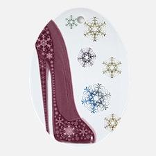 Christmas Stiletto and Snowflakes Ar Oval Ornament