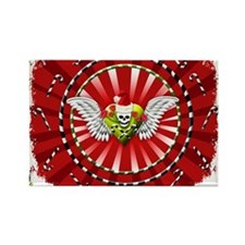 Grunge Christmas Skull Heart Rectangle Magnet