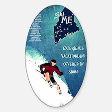 Vintage Ski ME Poster Sticker (Oval)