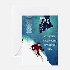 Vintage Ski ME Poster Greeting Card