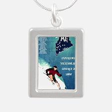 Vintage Ski ME Poster Silver Portrait Necklace
