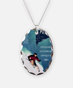 Vintage Ski ME Poster Necklace