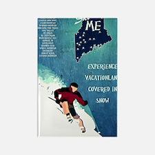 Vintage Ski ME Poster Rectangle Magnet