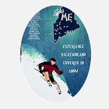Vintage Ski ME Poster Oval Ornament