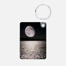Waning gibbous moon Keychains