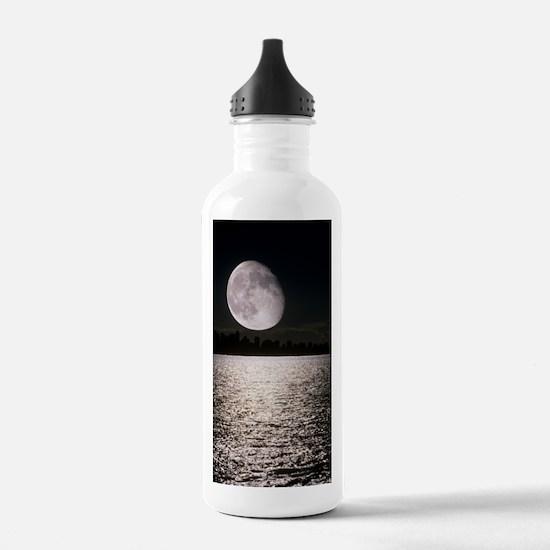 Waning gibbous moon Water Bottle