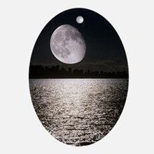 Waning gibbous moon Oval Ornament