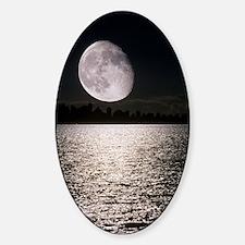 Waning gibbous moon Sticker (Oval)