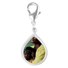 Ugandan mother and child Silver Teardrop Charm