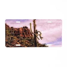pink saguaro sunset Aluminum License Plate