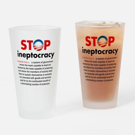 Stop Obama's Ineptocracy Drinking Glass