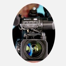 TV camera and cameraman Oval Ornament