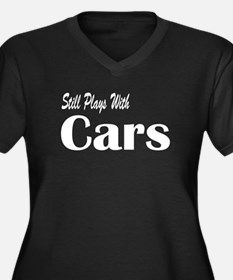 Plays With Cars Women's Plus Size V-Neck Dark T-Sh