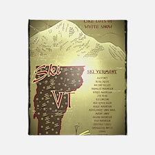 Vintage Ski VT Poster Throw Blanket