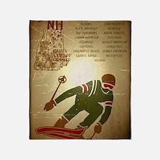 Vintage Ski NH Poster Throw Blanket