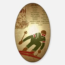 Vintage Ski NH Poster Sticker (Oval)