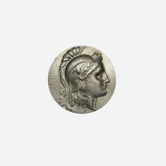 Ancient Coin showing Athena Mini Button