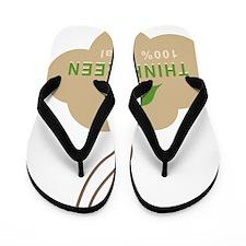 Natural Green Flip Flops