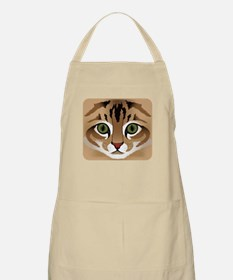 Cute brown tabby cat face close up ill Light Apron