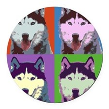 Husky Pop Art Round Car Magnet