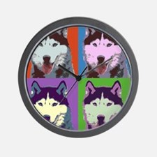 Husky Pop Art Wall Clock