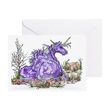 unicorn mom and babe purple Greeting Card