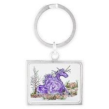 unicorn mom and babe purple Landscape Keychain